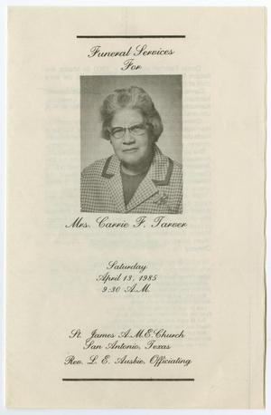 Primary view of object titled '[Funeral Program for Carrie F. Tarver, April 13, 1985]'.