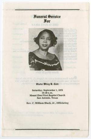 Primary view of object titled '[Funeral Program for Wiley B. Tate, September 1, 1979]'.