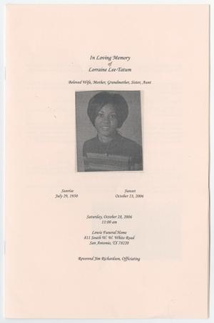 Primary view of object titled '[Funeral Program for Lorraine Lee-Tatum, October 28, 2006]'.