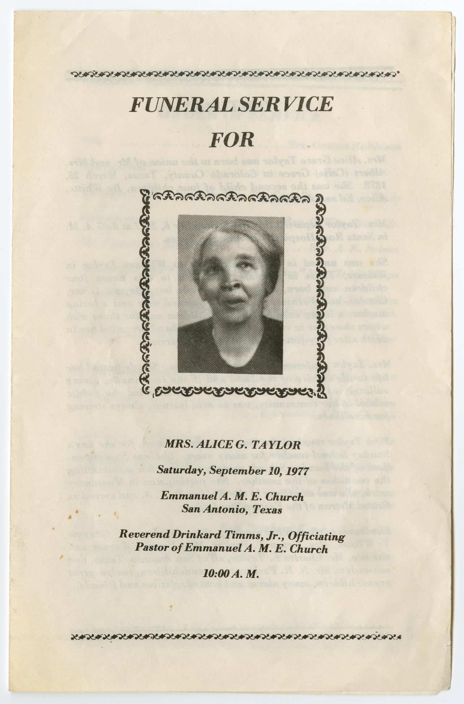 [Funeral Program for Alice G. Taylor, September 10, 1977]                                                                                                      [Sequence #]: 1 of 3