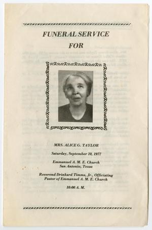 Primary view of object titled '[Funeral Program for Alice G. Taylor, September 10, 1977]'.