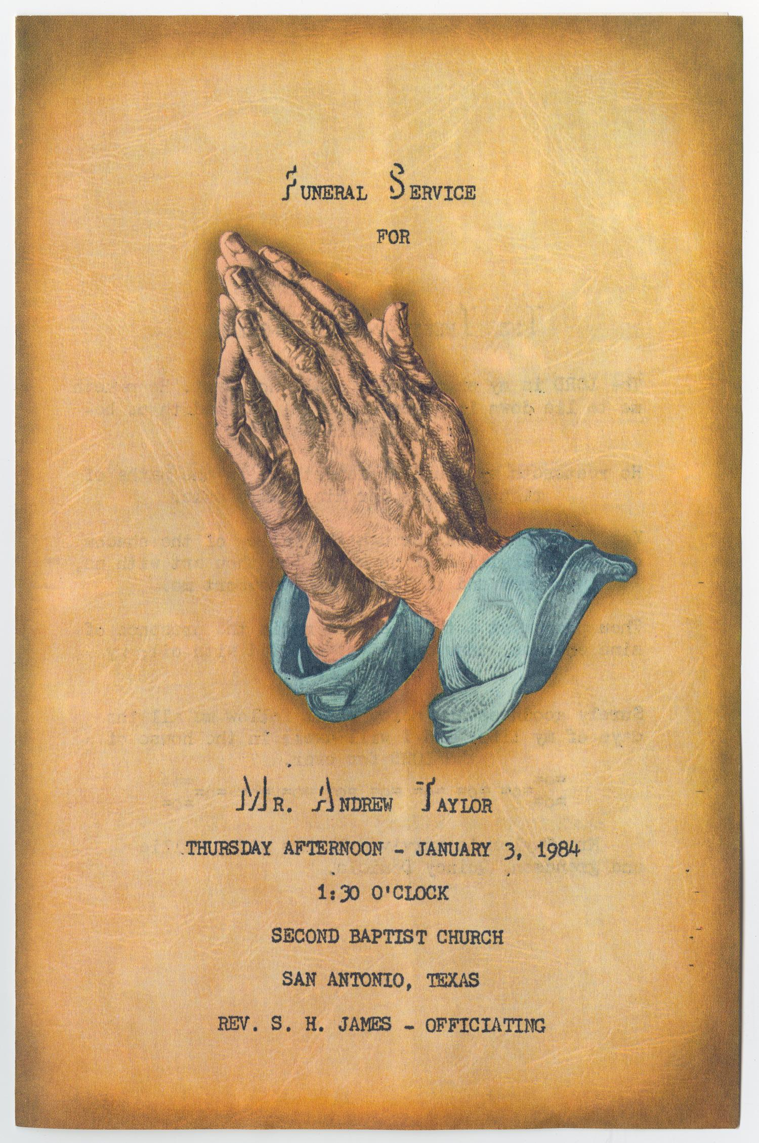 [Funeral Program for Andrew Taylor, January 3, 1984]                                                                                                      [Sequence #]: 1 of 3