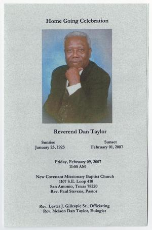 Primary view of object titled '[Funeral Program for Dan Taylor, February 9, 2007]'.