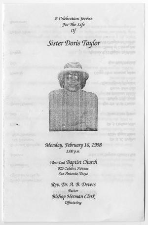 Primary view of object titled '[Funeral Program for Doris Taylor, February 16, 1998]'.