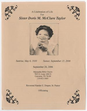 Primary view of object titled '[Funeral Program for Doris M. McClure Taylor, September 20, 2006]'.