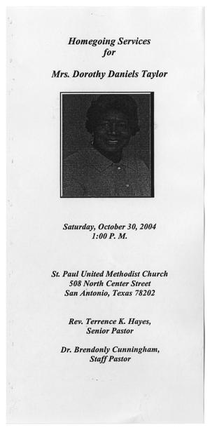 Primary view of object titled '[Funeral Program for Dorothy Daniels Taylor, October 30, 2004]'.