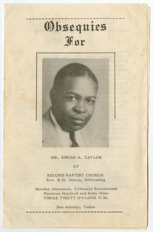 Primary view of object titled '[Funeral Program for Edgar A. Taylor, February 17, 1969]'.