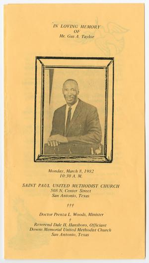 Primary view of object titled '[Funeral Program for Gus A. Taylor, March 8, 1982]'.