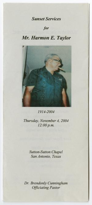 Primary view of object titled '[Funeral Program for Harmon E. Taylor, November 4, 2004]'.