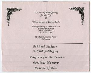 Primary view of object titled '[Funeral Program for Lillian Woodard Sutton-Taylor, January 10, 1998]'.