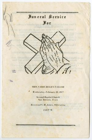 Primary view of object titled '[Funeral Program for Sadie Helen Taylor, February 23, 1977]'.