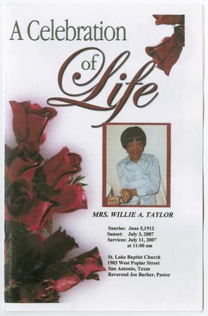 Primary view of object titled '[Funeral Program for Willie A. Taylor, July 11, 2007]'.