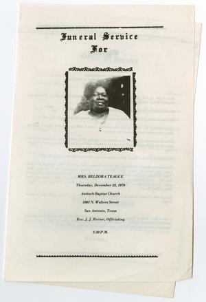 Primary view of object titled '[Funeral Program for Belzora Teague, December 23, 1976]'.