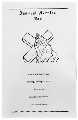 Primary view of object titled '[Funeral Program for Illie Jane Teas, January 14, 1975]'.