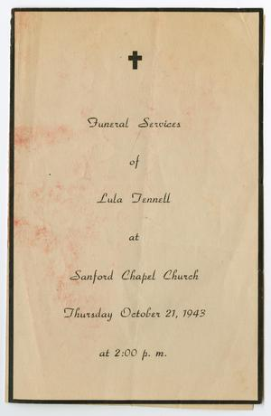 Primary view of object titled '[Funeral Program for Lula Tennell, October 21, 1943]'.