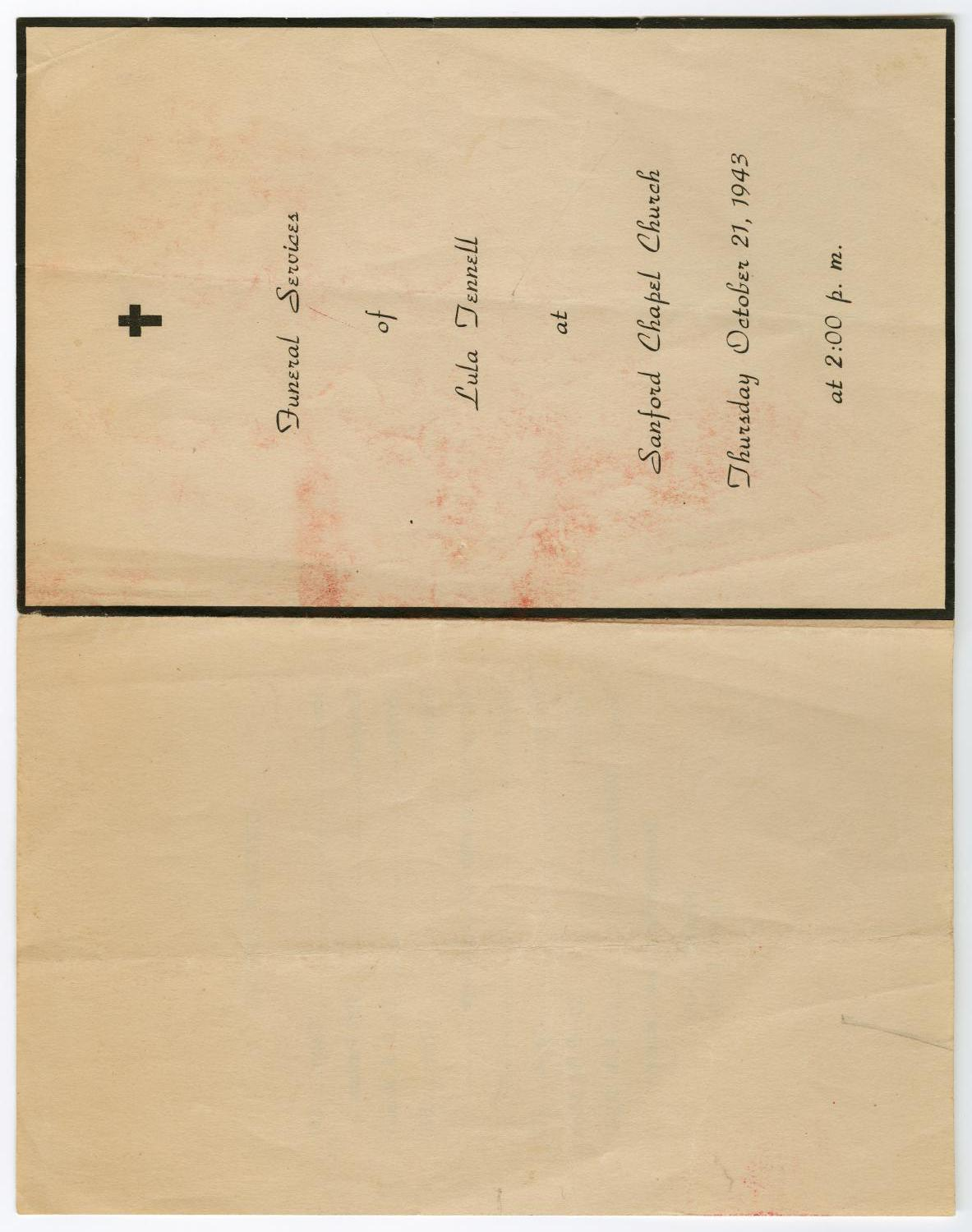 [Funeral Program for Lula Tennell, October 21, 1943]                                                                                                      [Sequence #]: 3 of 3