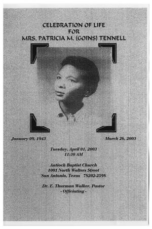 Primary view of [Funeral Program for Patricia M. Tennell, April 1, 2003]