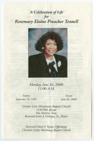 Primary view of object titled '[Funeral Program for Rosemary Elaine Preacher Tennell, June 26, 2000]'.