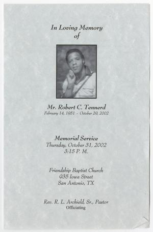 Primary view of object titled '[Funeral Program for Robert C. Tennerd, October 31, 2002]'.