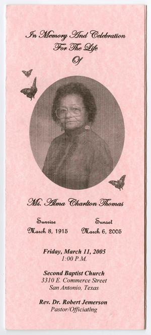 Primary view of object titled '[Funeral Program for Alma Charlton Thomas, March 11, 2005]'.