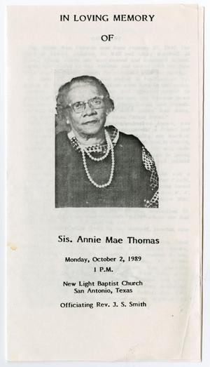 Primary view of object titled '[Funeral Program for Annie Mae Thomas, October 2, 1989]'.