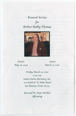 Primary view of object titled '[Funeral Program for Arthur Bobby Thomas, March 19, 2010]'.