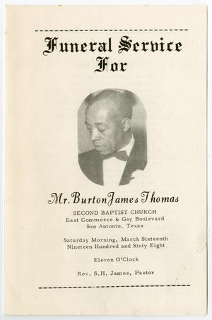 Primary view of object titled '[Funeral Program for Burton James Thomas, March 16, 1968]'.