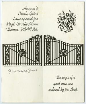 Primary view of object titled '[Funeral Program for Charlie Mann Thomas, March 27, 2003]'.