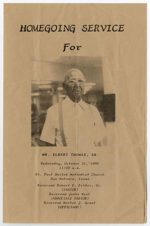Primary view of object titled '[Funeral Program for Elbert Thomas, Sr., October 31, 1990]'.