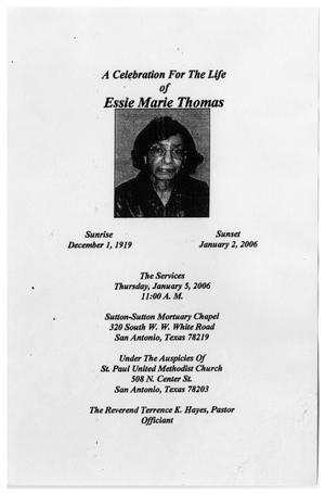 Primary view of object titled '[Funeral Program for Essie Marie Thomas, January 5, 2006]'.