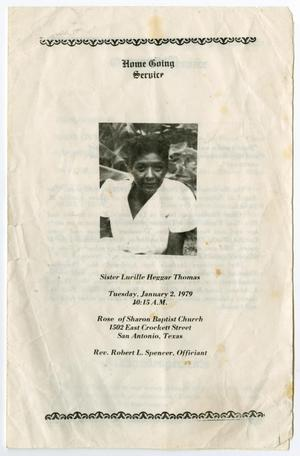 Primary view of object titled '[Funeral Program for Lucille Heggar Thomas, January 2, 1979]'.