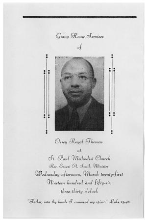 [Funeral Program for Ossey Royal Thomas, March 21, 1956]