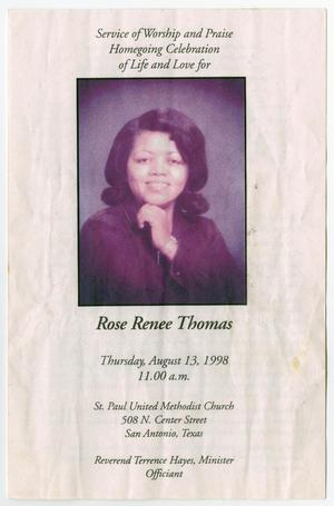 Primary view of object titled '[Funeral Program for Rose Renee Thomas, August 13, 1998]'.