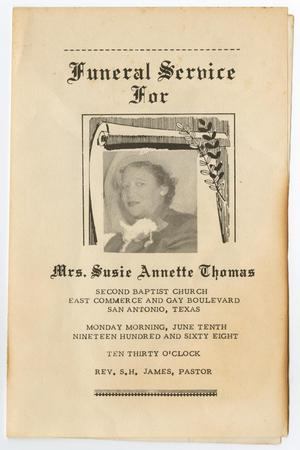 [Funeral Program for Susie Annette Thomas, June 10, 1968]