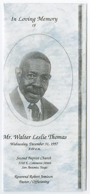 Primary view of object titled '[Funeral Program for Walter Leslie Thomas, December 31, 1997]'.