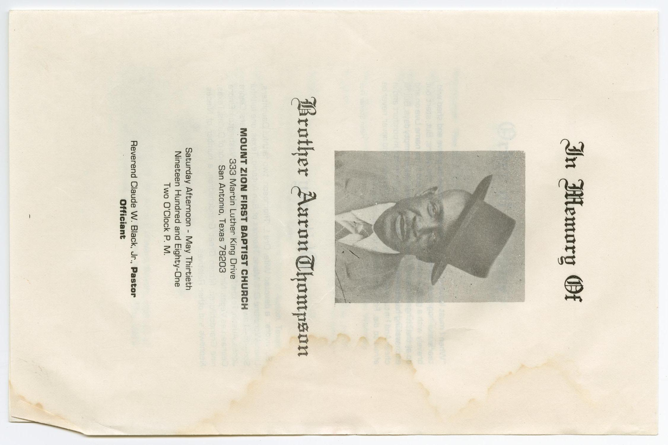 [Funeral Program for Aaron Thompson, May 30, 1981]                                                                                                      [Sequence #]: 1 of 3