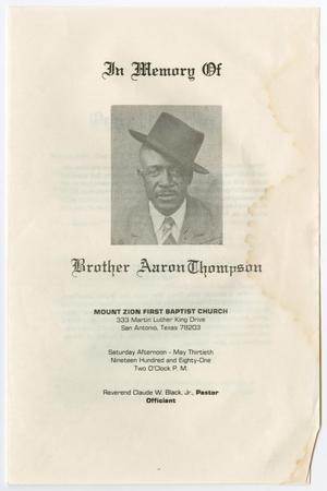 Primary view of object titled '[Funeral Program for Aaron Thompson, May 30, 1981]'.