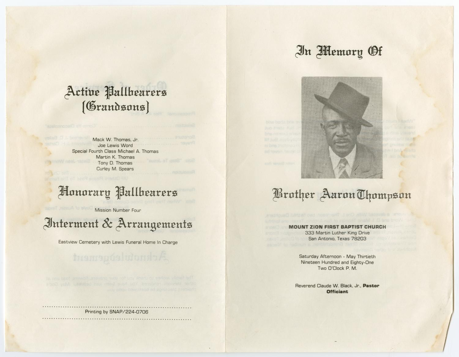 [Funeral Program for Aaron Thompson, May 30, 1981]                                                                                                      [Sequence #]: 3 of 3