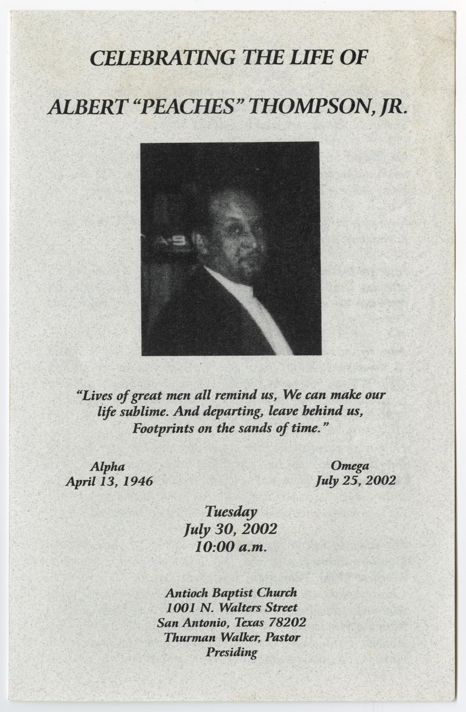 [Funeral Program for Albert Thompson, Jr., July 30, 2002]                                                                                                      [Sequence #]: 1 of 5