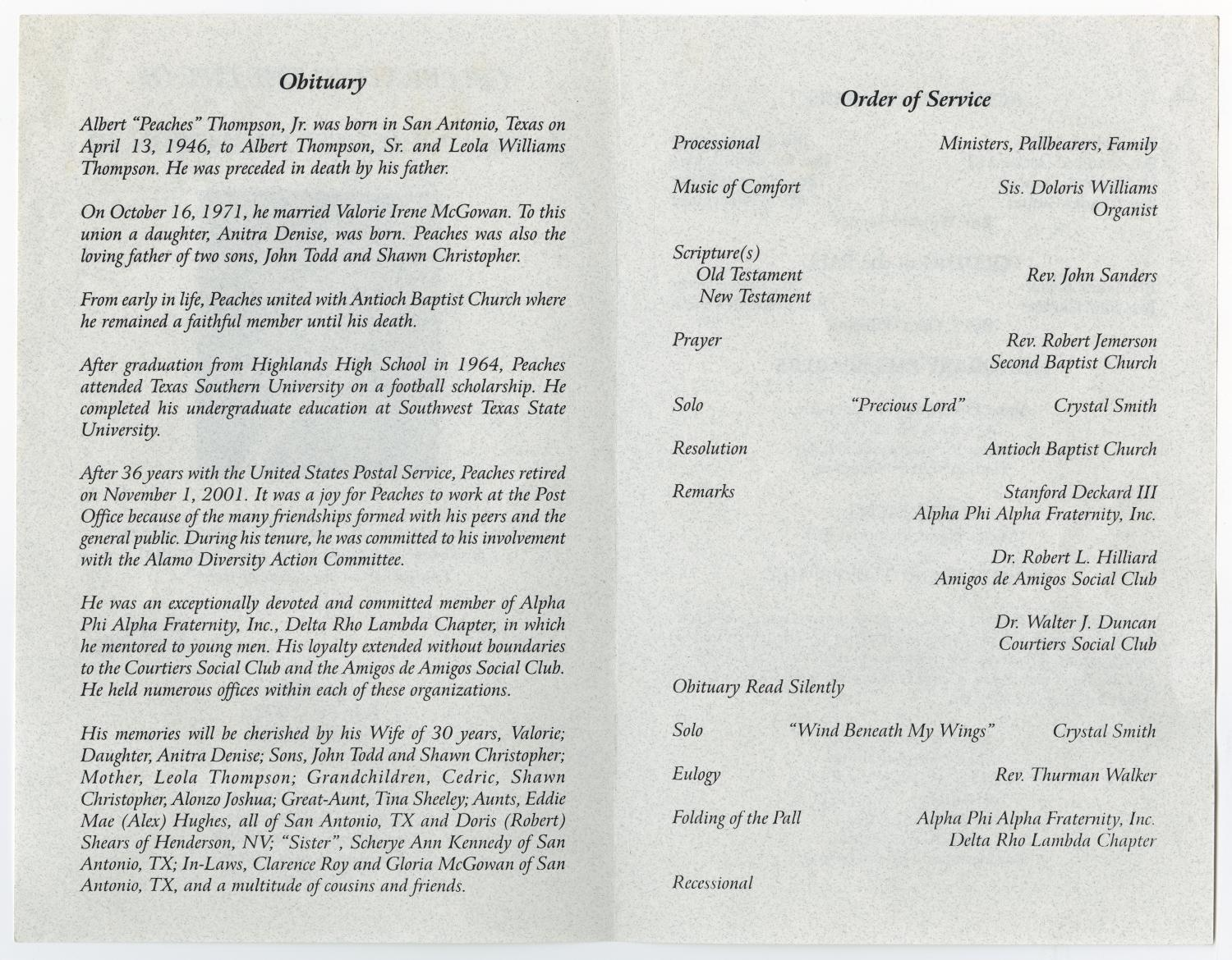 [Funeral Program for Albert Thompson, Jr., July 30, 2002]                                                                                                      [Sequence #]: 2 of 5