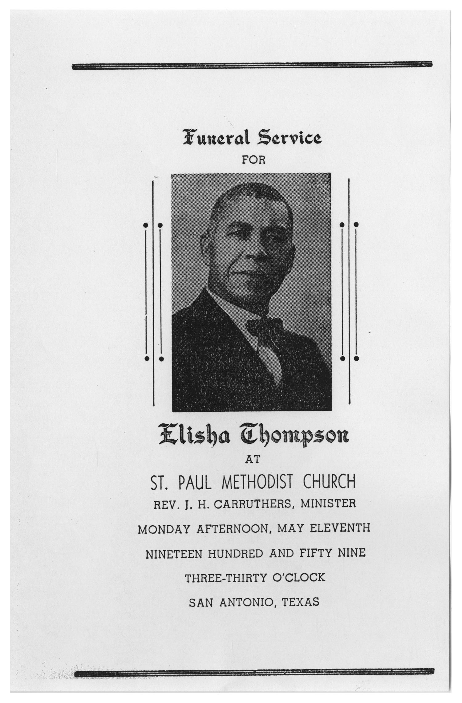 [Funeral Program for Elisha Thompson, May 11, 1959]                                                                                                      [Sequence #]: 1 of 3