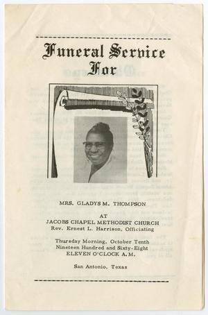 Primary view of object titled '[Funeral Program for Gladys M. Thompson, October 10, 1968]'.