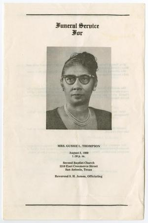 Primary view of object titled '[Funeral Program for Gussie L. Thompson, August 2, 1980]'.