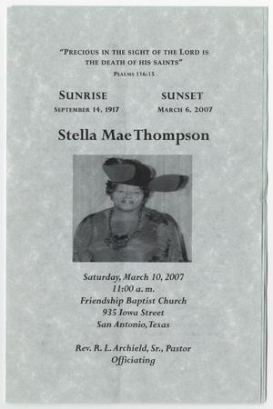 Primary view of object titled '[Funeral Program for Stella Mae Thompson, March 10, 2007]'.