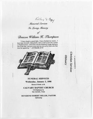[Funeral Program for William H. Thompson, January 3, 1990]