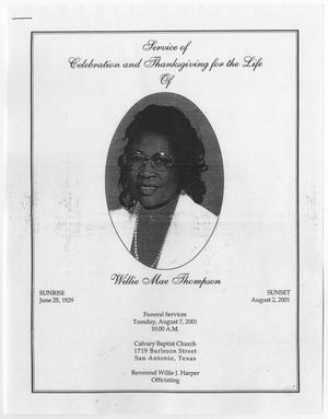 Primary view of object titled '[Funeral Program for Willie Mae Thompson, August 7, 2001]'.