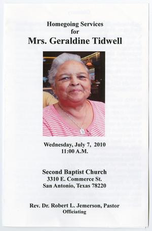 Primary view of object titled '[Funeral Program for Geraldine Tidwell, July 7, 2010]'.