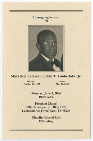 Primary view of object titled '[Funeral Program for Eddie T. Timberlake, Jr., June 5, 2006]'.