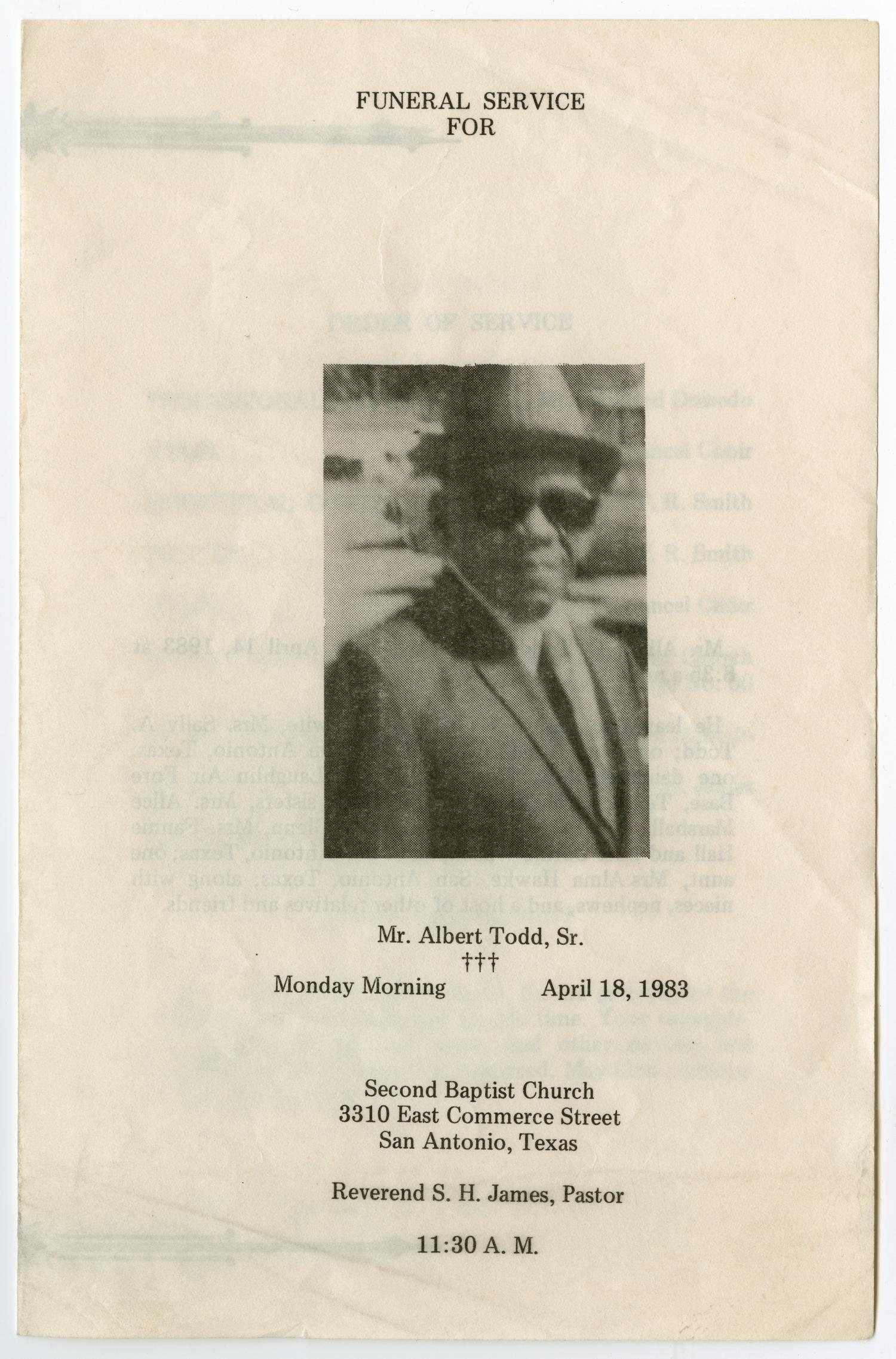 [Funeral Program for Albert Todd, Sr., April 18, 1983]                                                                                                      [Sequence #]: 1 of 3