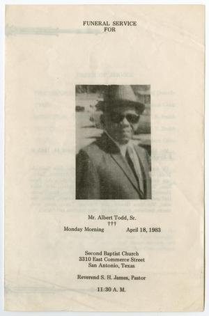 Primary view of object titled '[Funeral Program for Albert Todd, Sr., April 18, 1983]'.